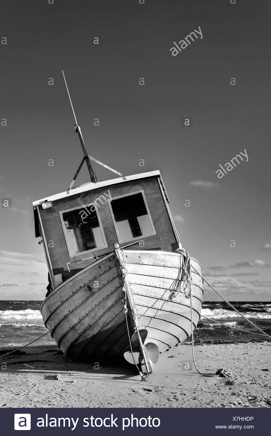trawler on the baltic coast Stock Photo