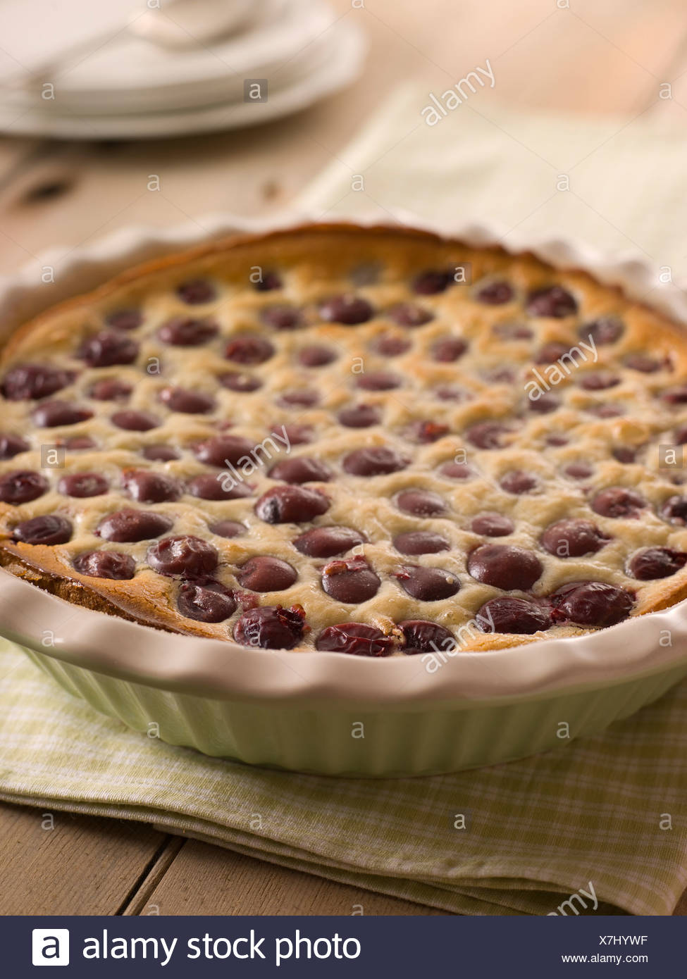 Black Cherry Clafoutis Stock Photo