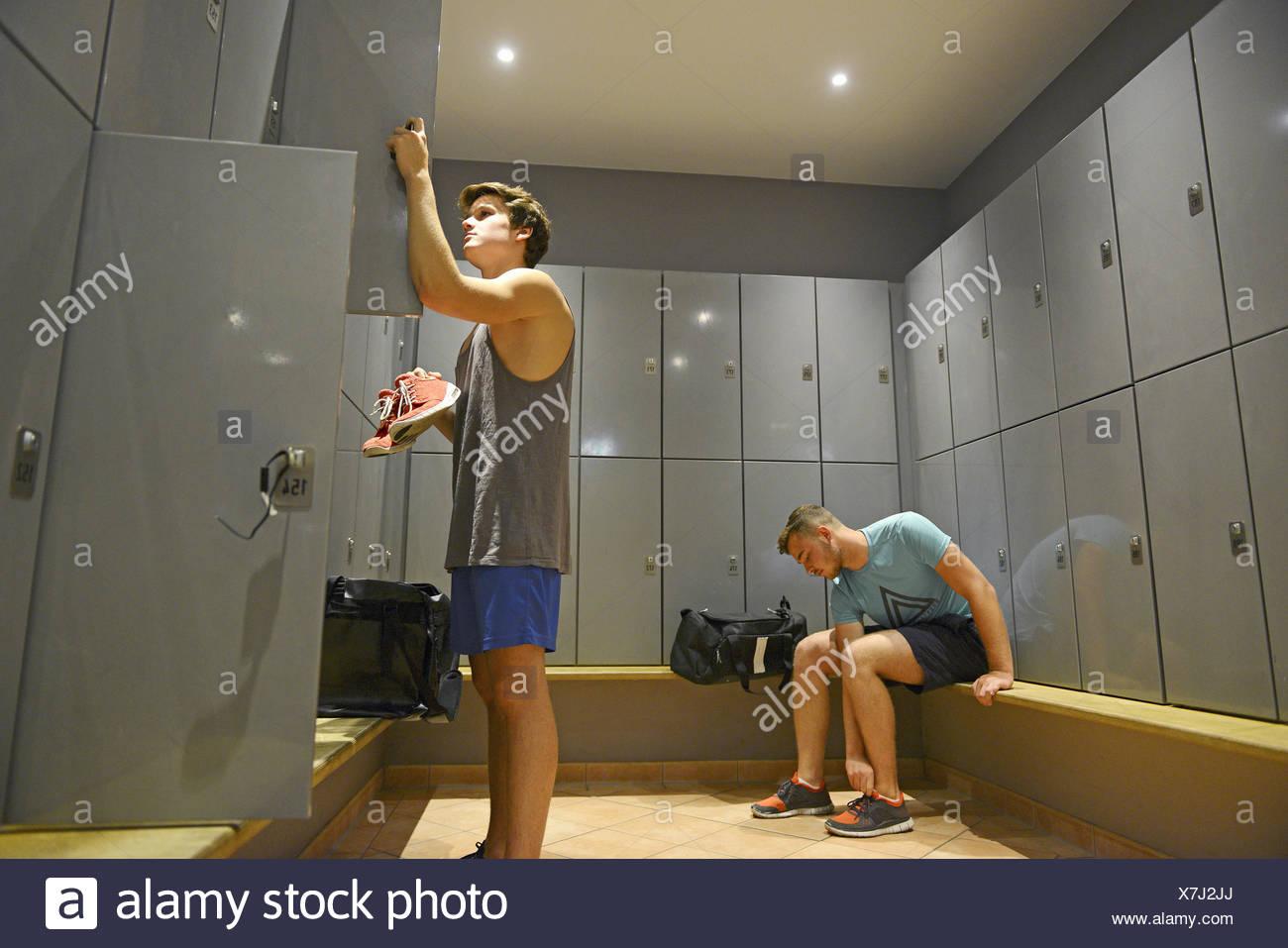 Teenage boy in gym locker room stock photos teenage boy in gym