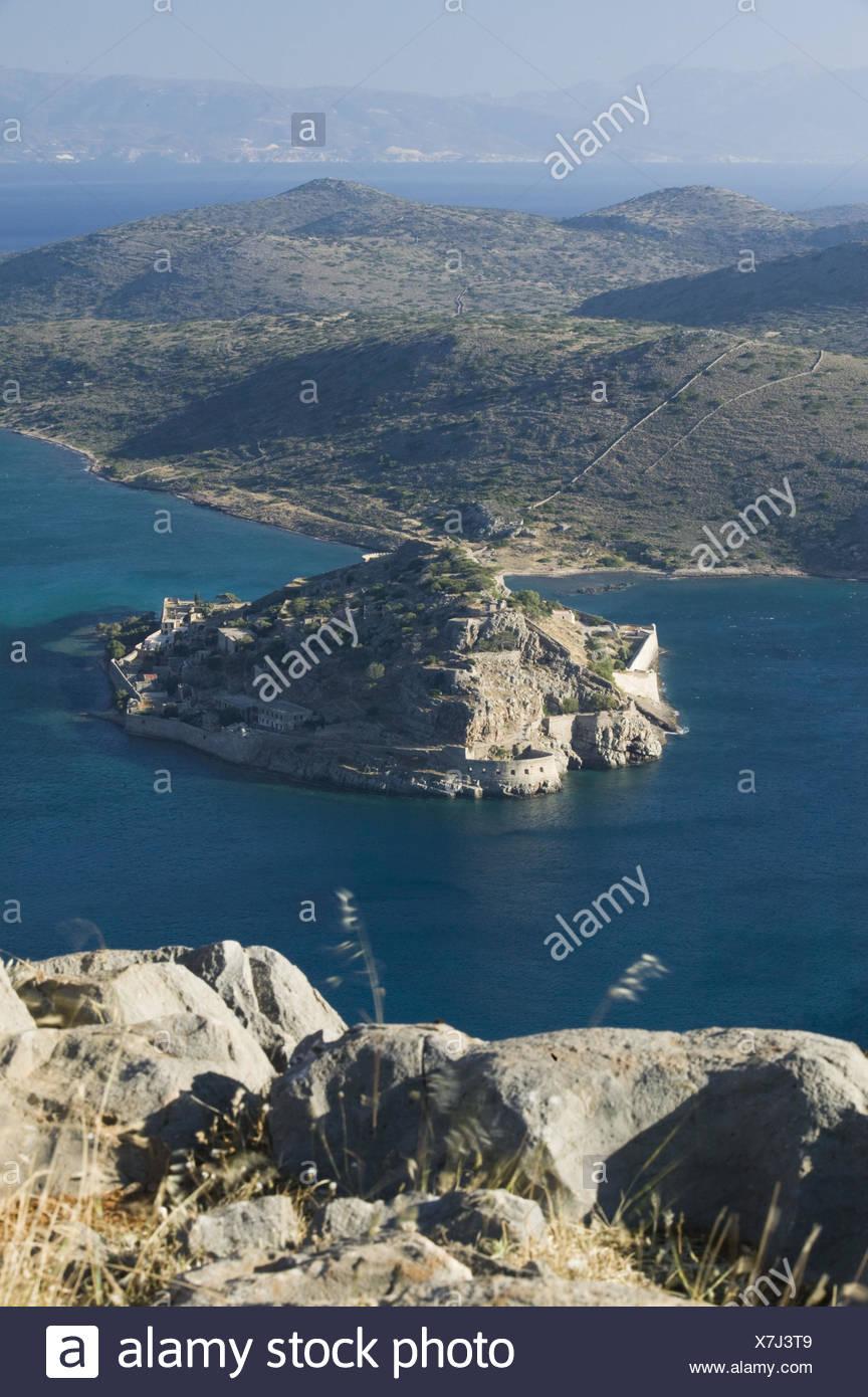 Griechenland, Kreta, Plaka, Insel Spinalonga, Übersicht, - Stock Image