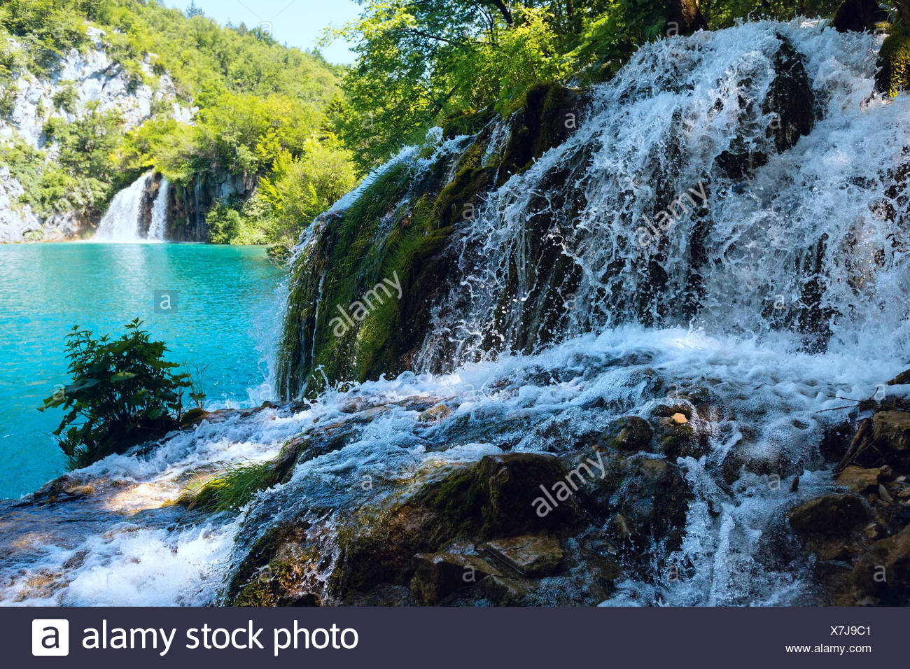 Small waterfall (closeup) in Plitvice Lakes National Park (Croat - Stock Image