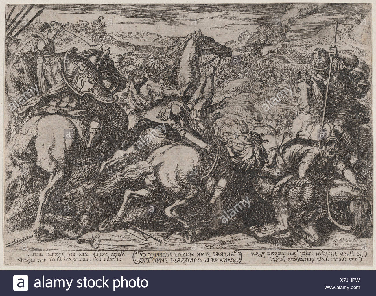 Plate 6: The Israelites Defeated by the Canaanites for Having Disobeyed Moses, from 'The Battles of the Old Testament'. Artist: Antonio Tempesta - Stock Image