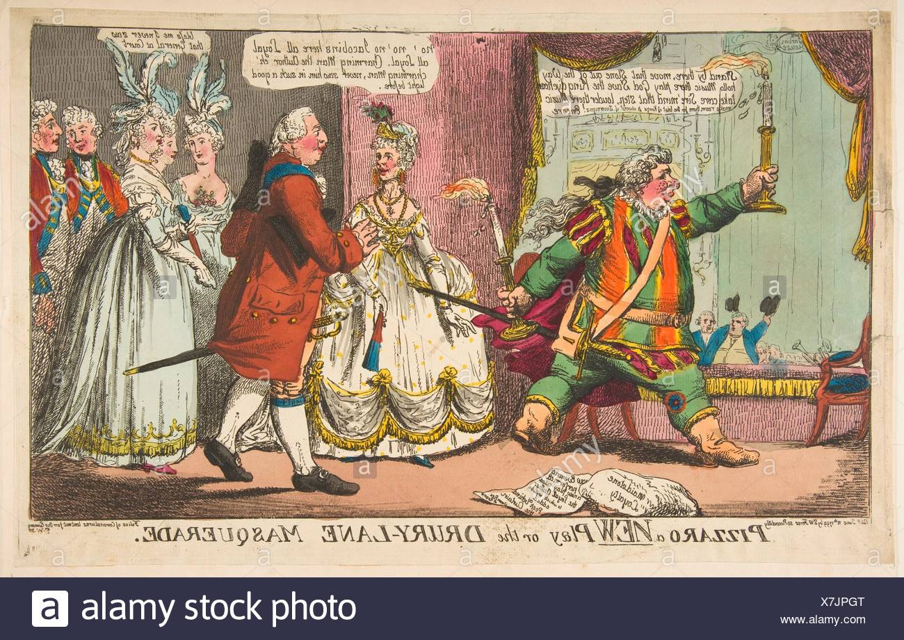 Pizzaro a New Play or the Drury-Lane Masquerade. Artist: Anonymous, British, 18th century; Publisher: Samuel William Fores (British, 1761-1838); - Stock Image