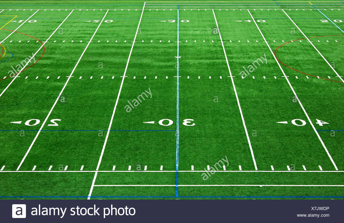 Markings on the pitch an American football stadium, USA - Stock Image