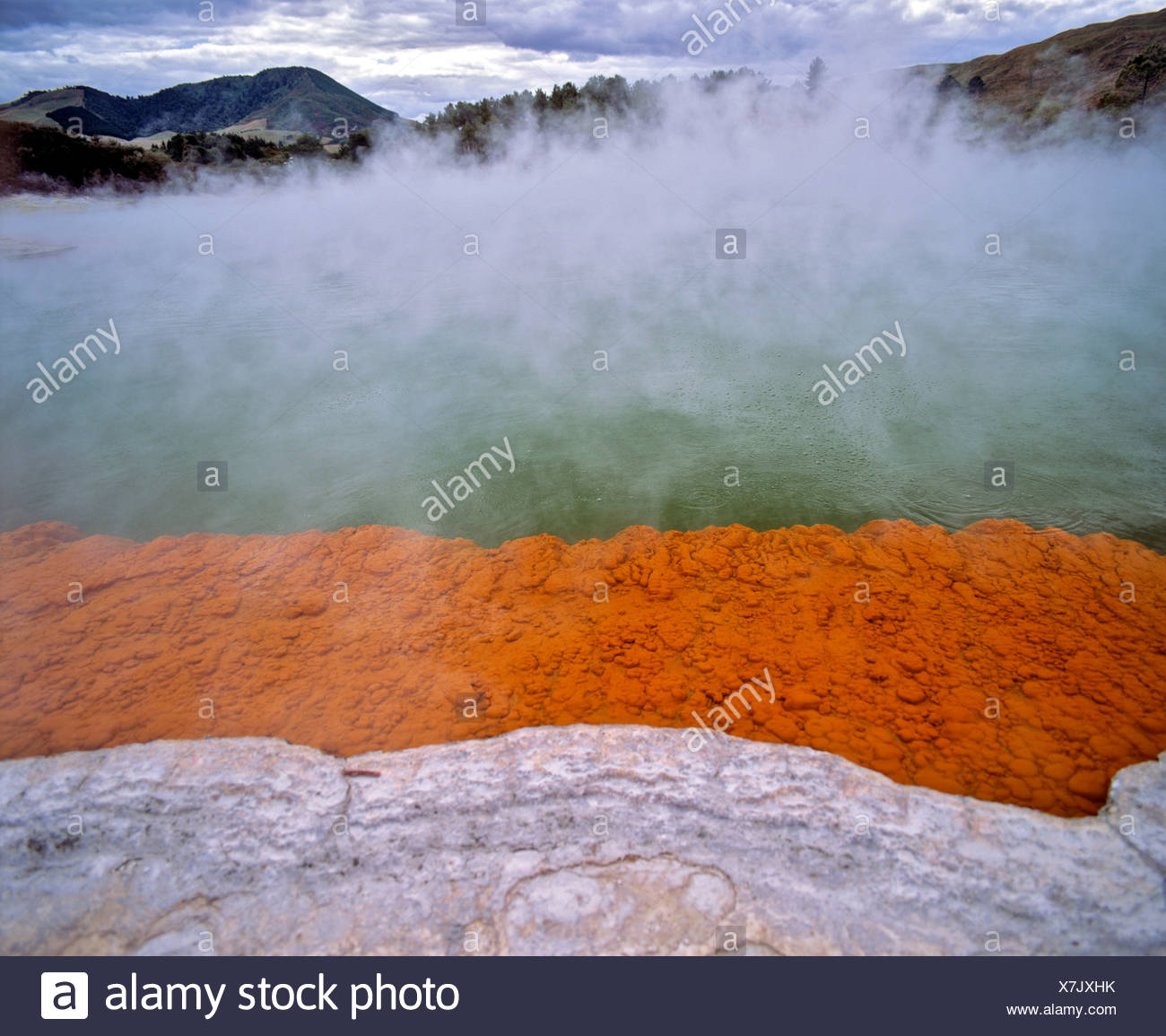 Champagne Pool, hot springs, geothermal area Waiotapu, Rotorua, North Island, New Zealand Stock Photo