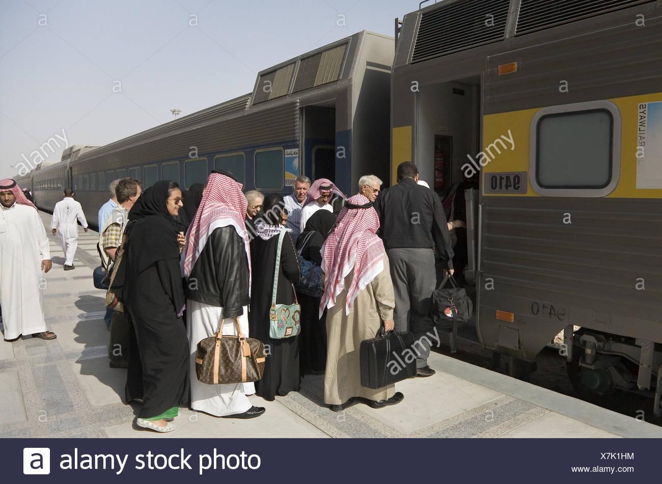 Saudi Arabia, railway station, platform, passengers, - Stock Image