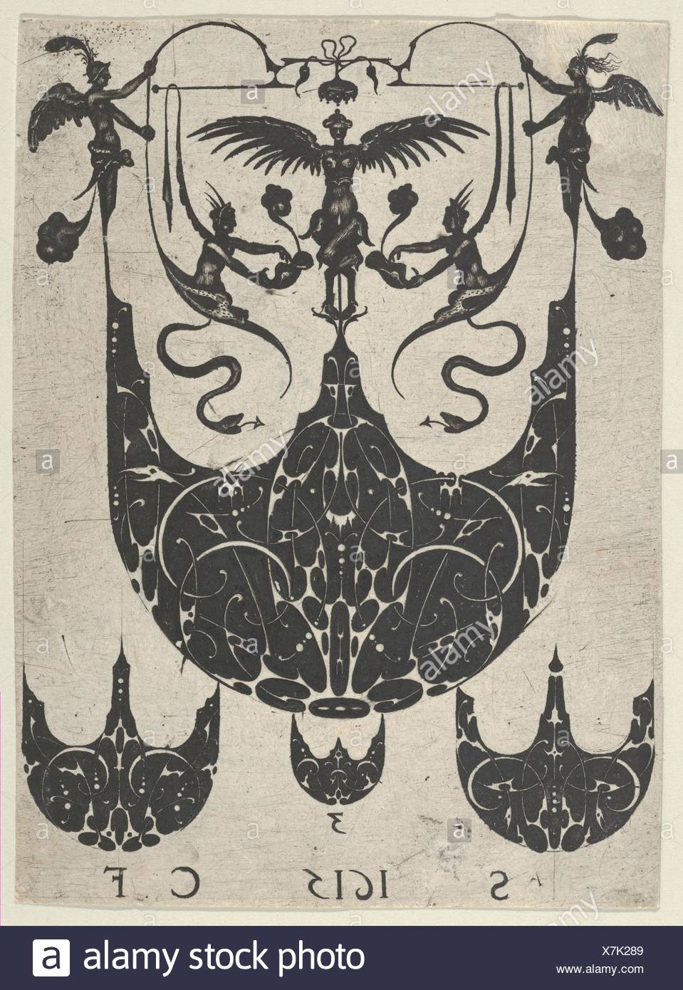 Blackwork Print with a Bezel Supporting Grotesques Above Three Smaller Bezels, from a Series of Blackwork Prints for Goldsmiths' Work. Artist: - Stock Image