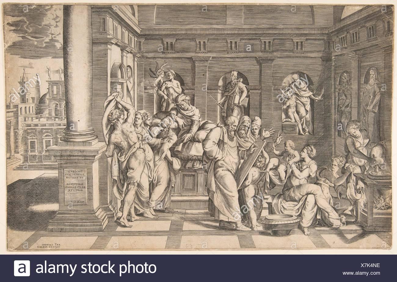 The birth of Saint John the Baptist. Artist: Giulio Bonasone (Italian, active Rome and Bologna, 1531-after 1576); Publisher: Antonio Lafreri (French, Stock Photo
