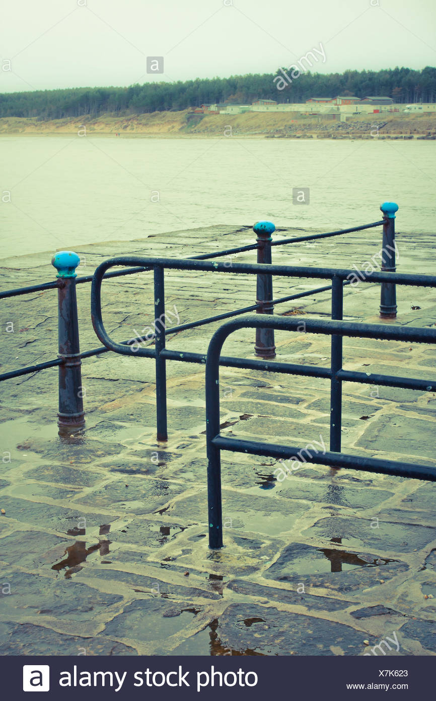 Rainy day at the sea front - Stock Image