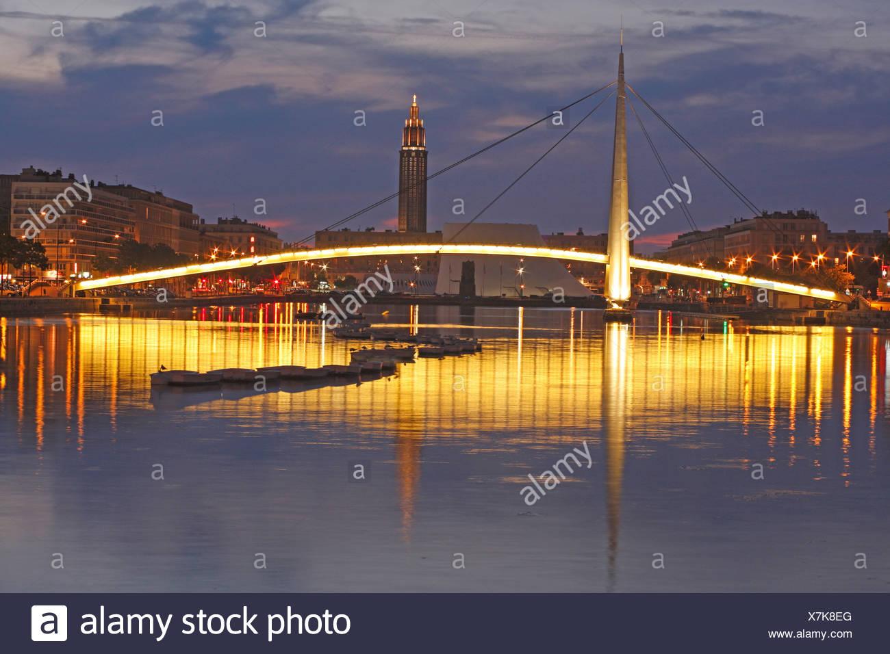 Bassin du Commerce, Le Havre, Normandy, France, Europe, night, canal, bridge - Stock Image