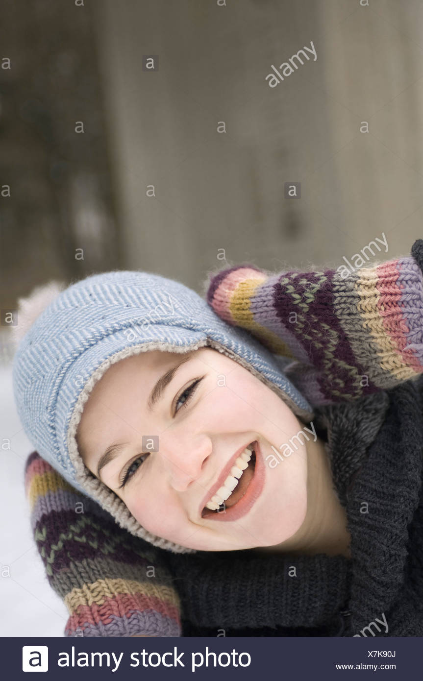 headshot of teenage girl in winter - Stock Image