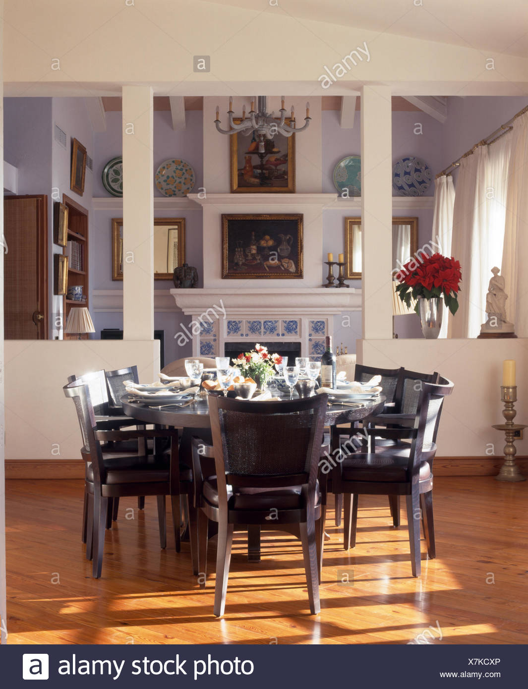Dark Grey Chairs At Table Set For Lunch In Modern Spanish Dining Room Stock Photo Alamy
