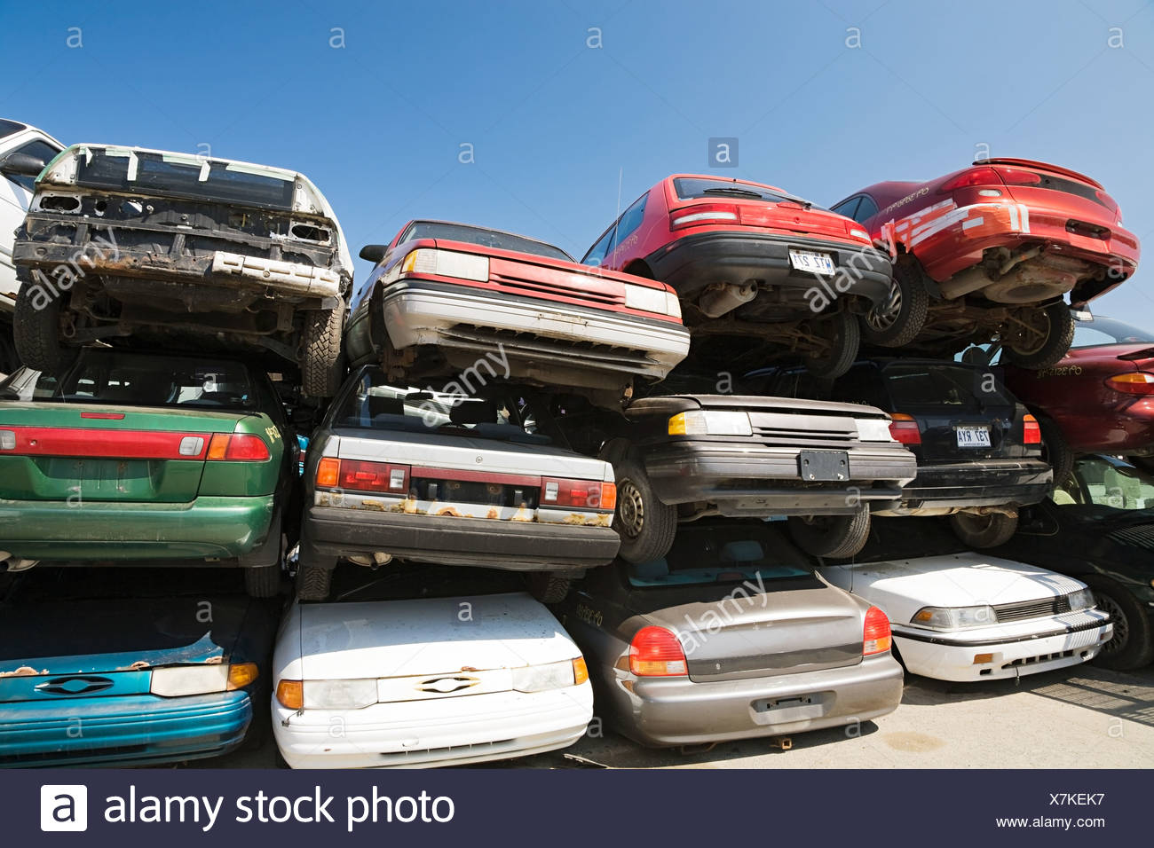 Cars at scrap yard - Stock Image