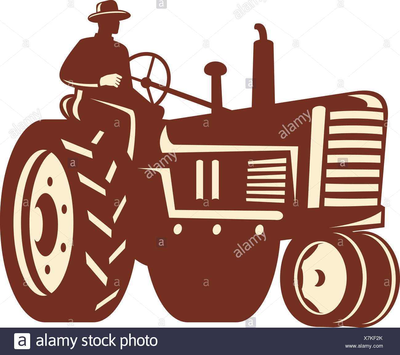Illustration Of A Farmer Worker Driving A Vintage Tractor On
