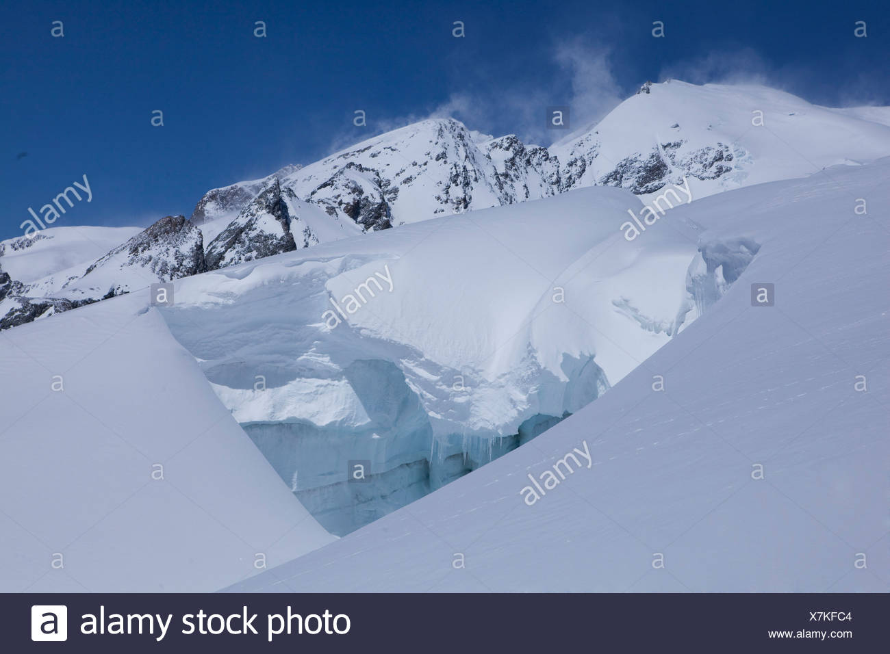 Mountain, mountains, glaciers, ice, moraine, canton, Valais, Aletsch, glacier, winter, scenery, landscape, Switzerland, Europe, - Stock Image