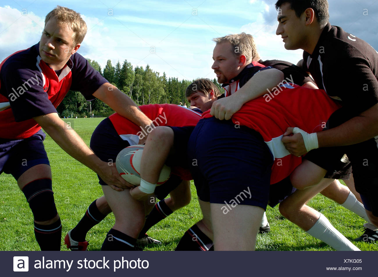 Side view of rugby players in action against the trees and sky - Stock Image
