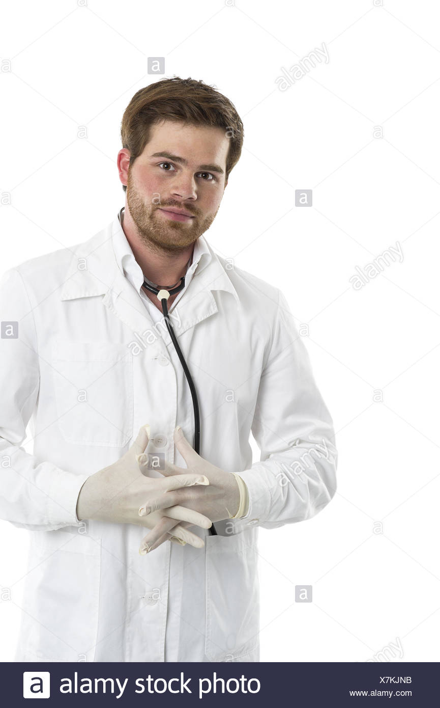 Protection against infection with gloves Stock Photo