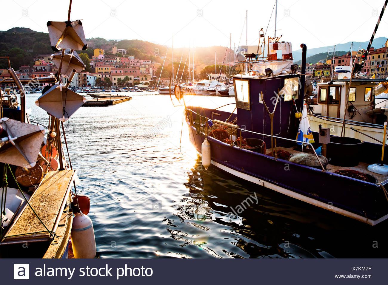 Port of Rio Marina, Elba Island, Italy, Europe Stock Photo