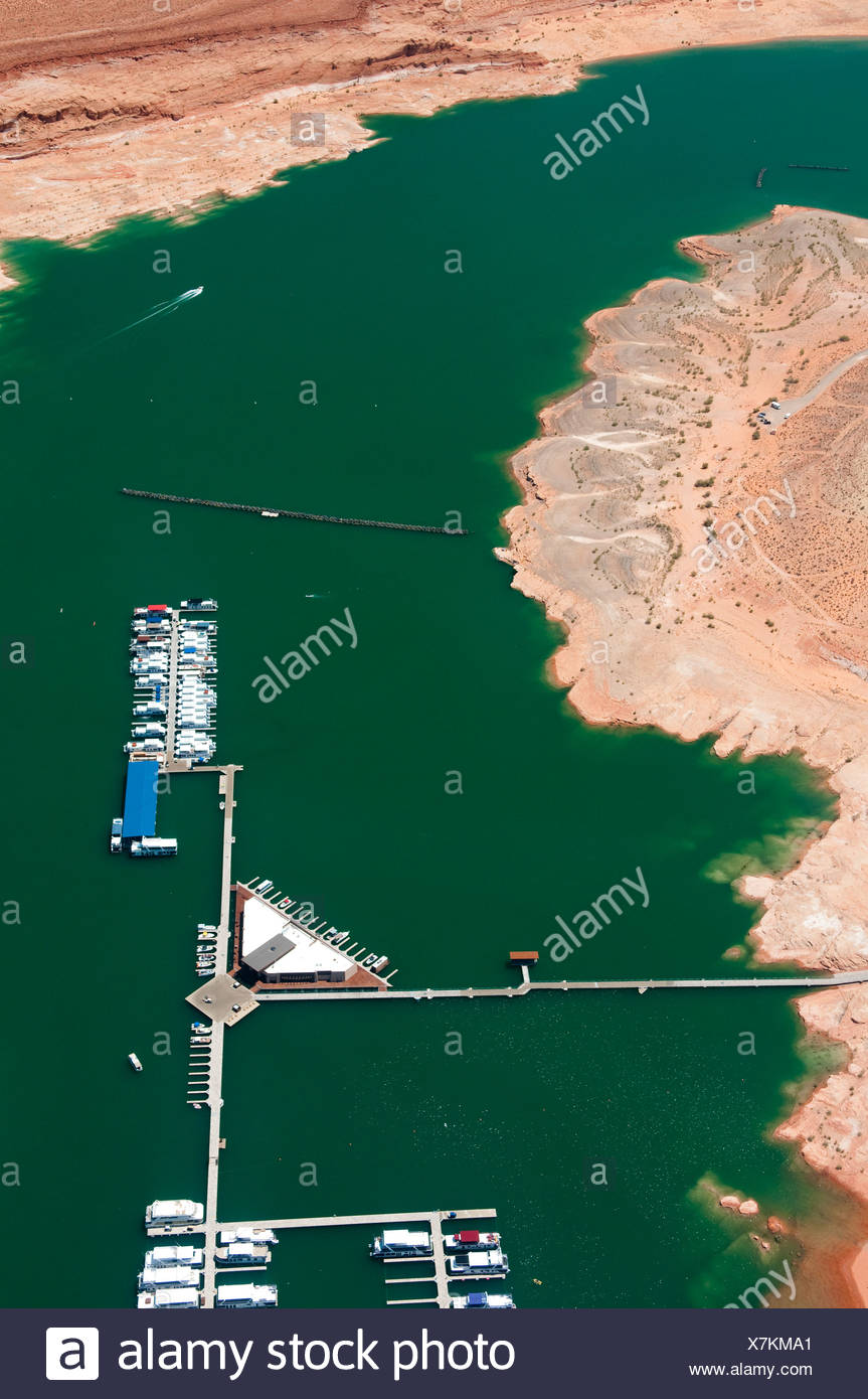 Aerial view of a marina on Lake Powell. Stock Photo