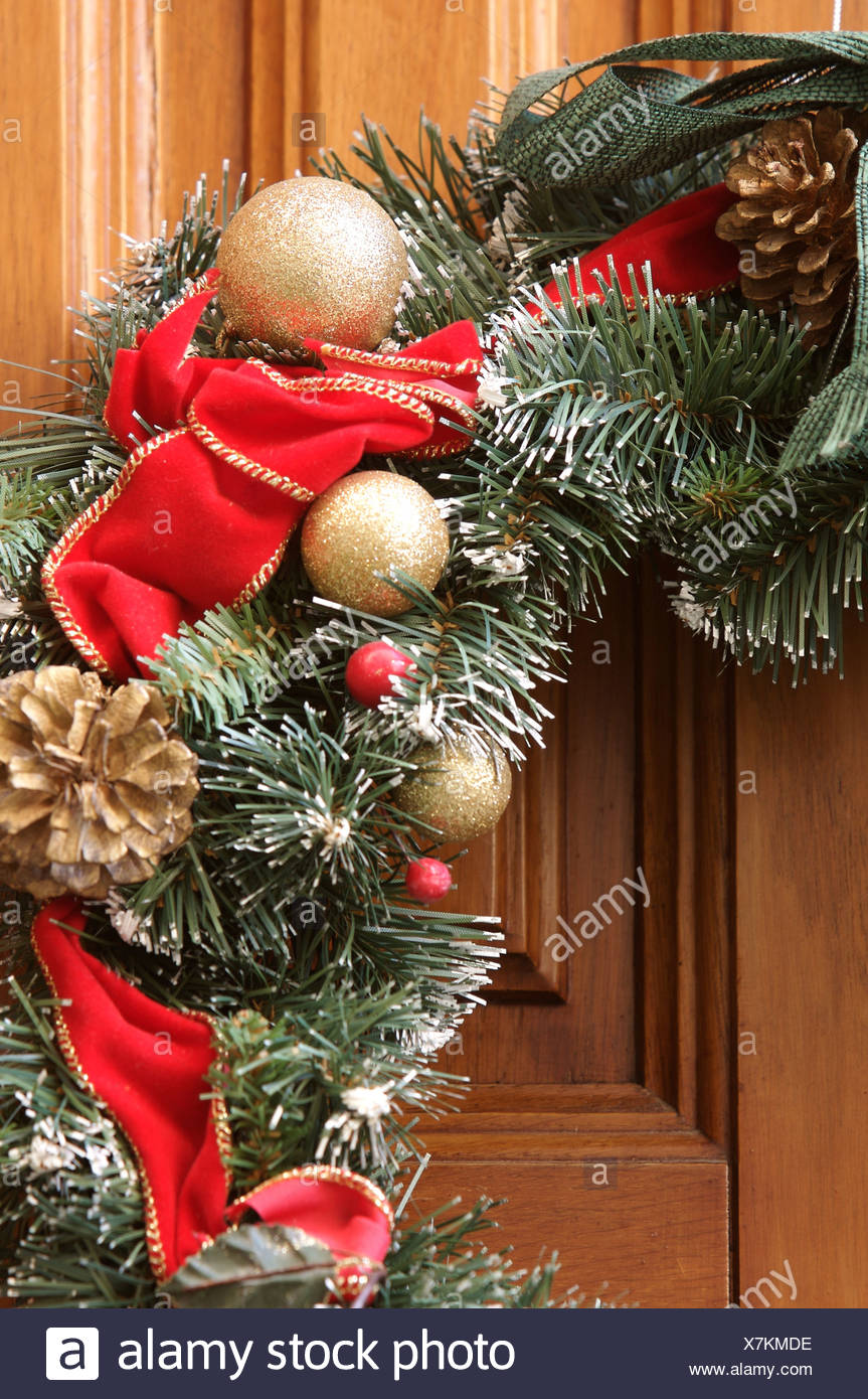 Detail Of Christmas Wreath With Evergreen Garland Rred Gold