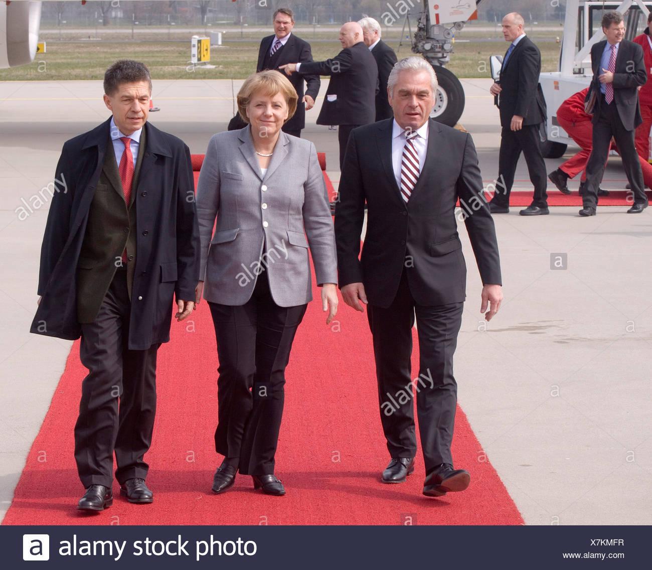 Heribert Rech, interior minister of Baden-Wuerttemberg, Federal Chancellor Dr. Angela Merkel and Prof. Joachim Sauer, 60 years  Stock Photo