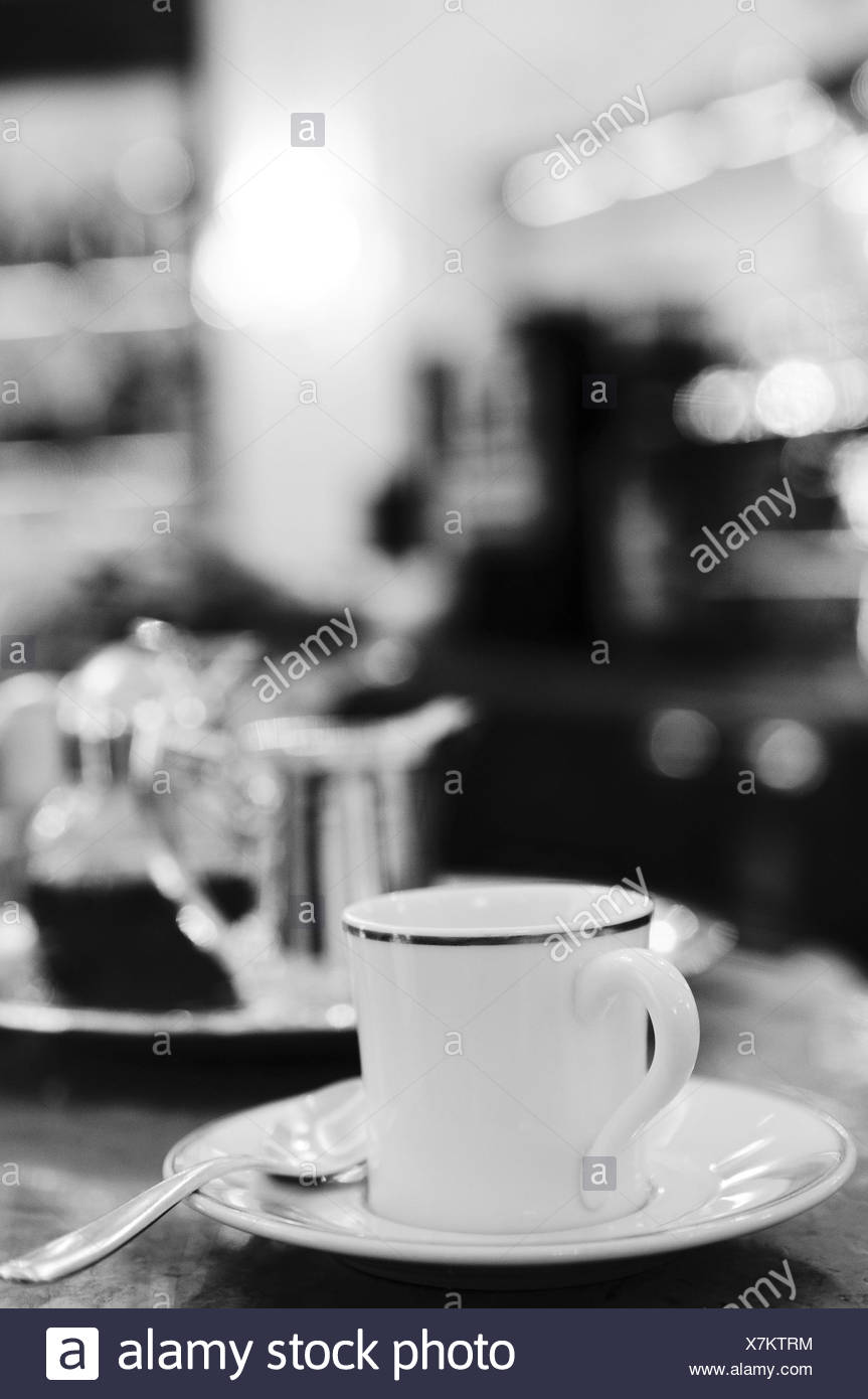 Cafe, detail, coffee cover, b/w, , - Stock Image