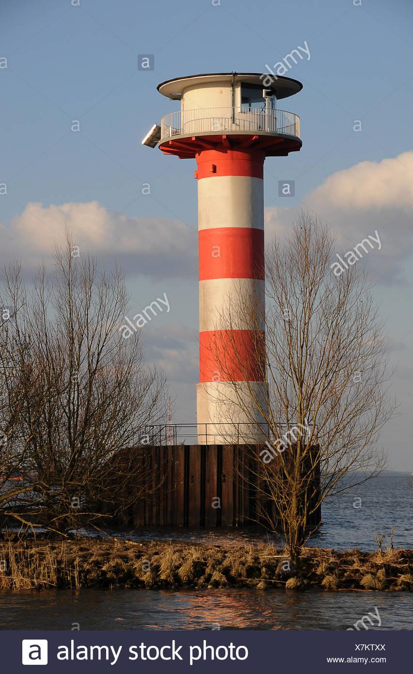elbe, beacon, lighthouse, navigation, seafaring, striated, elbe, marking, Stock Photo