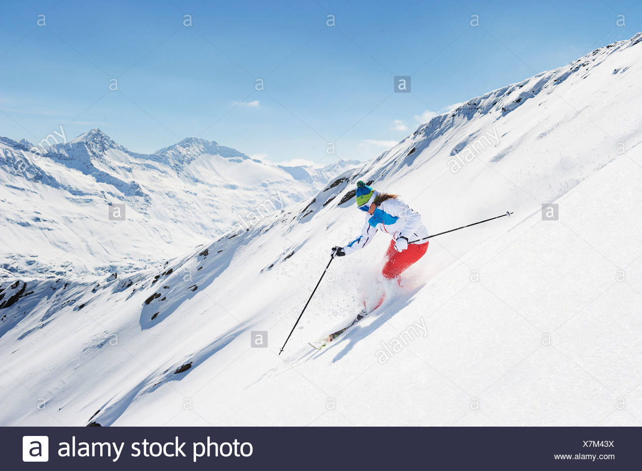 Female skier in action - Stock Image
