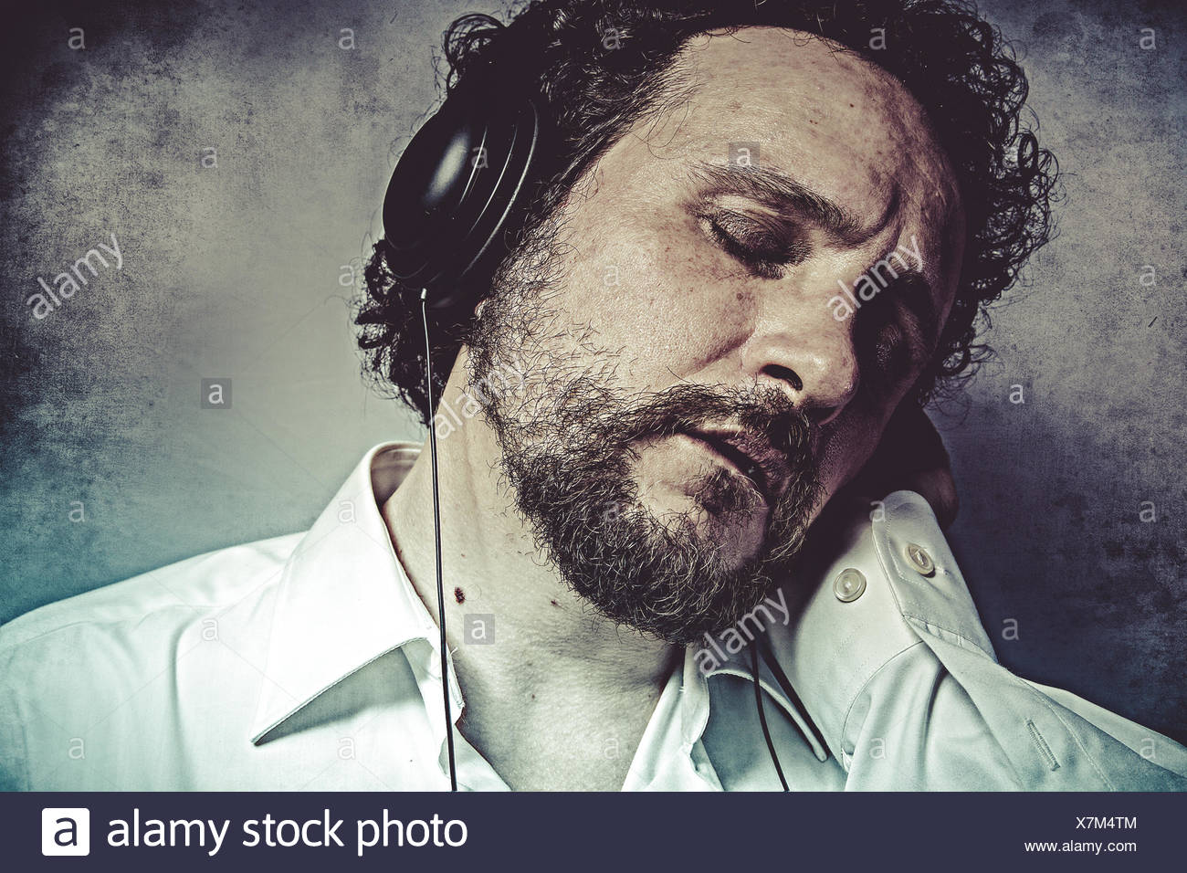 Joy Listening And Enjoying Music With Headphones Man In