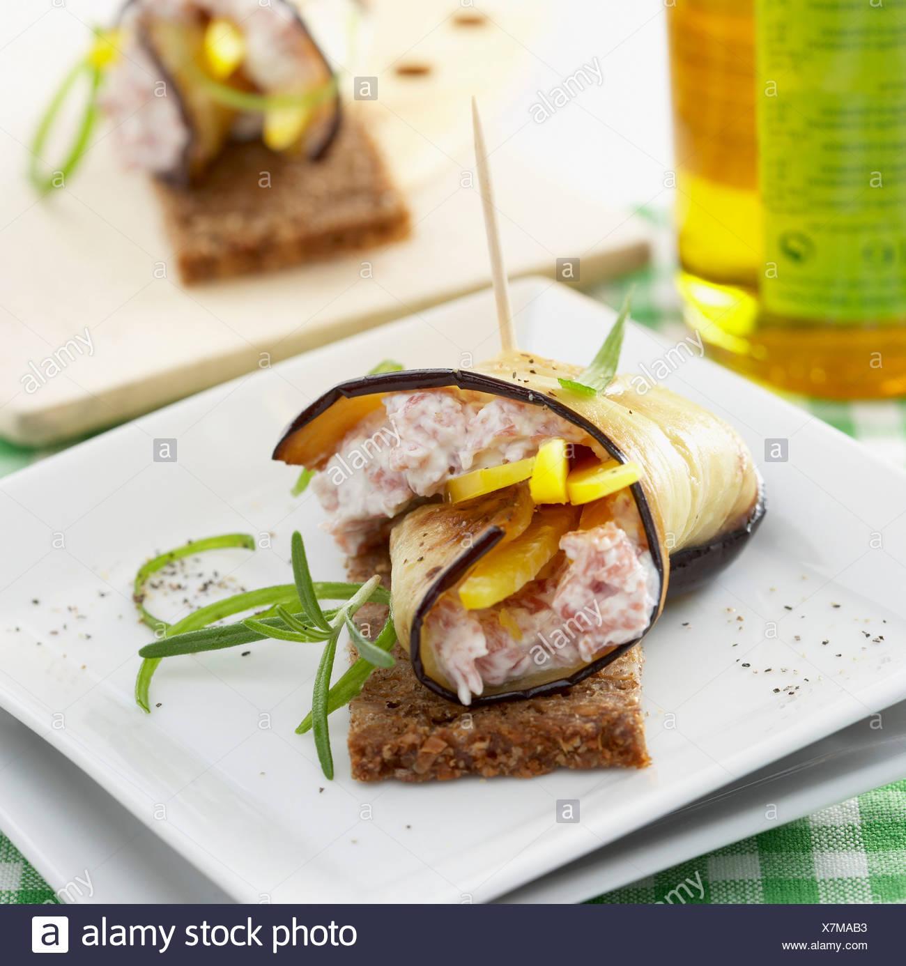 Aubergine appetiser - Stock Image