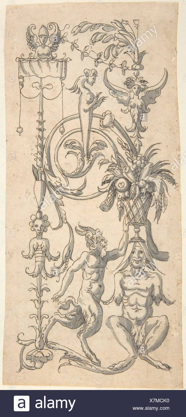 Candelabra Grotesque with a Crouched Satyr Carrying a Fruit Basket. Artist: Anonymous, Italian, 16th century ?; Artist: After Cornelis Bos - Stock Image
