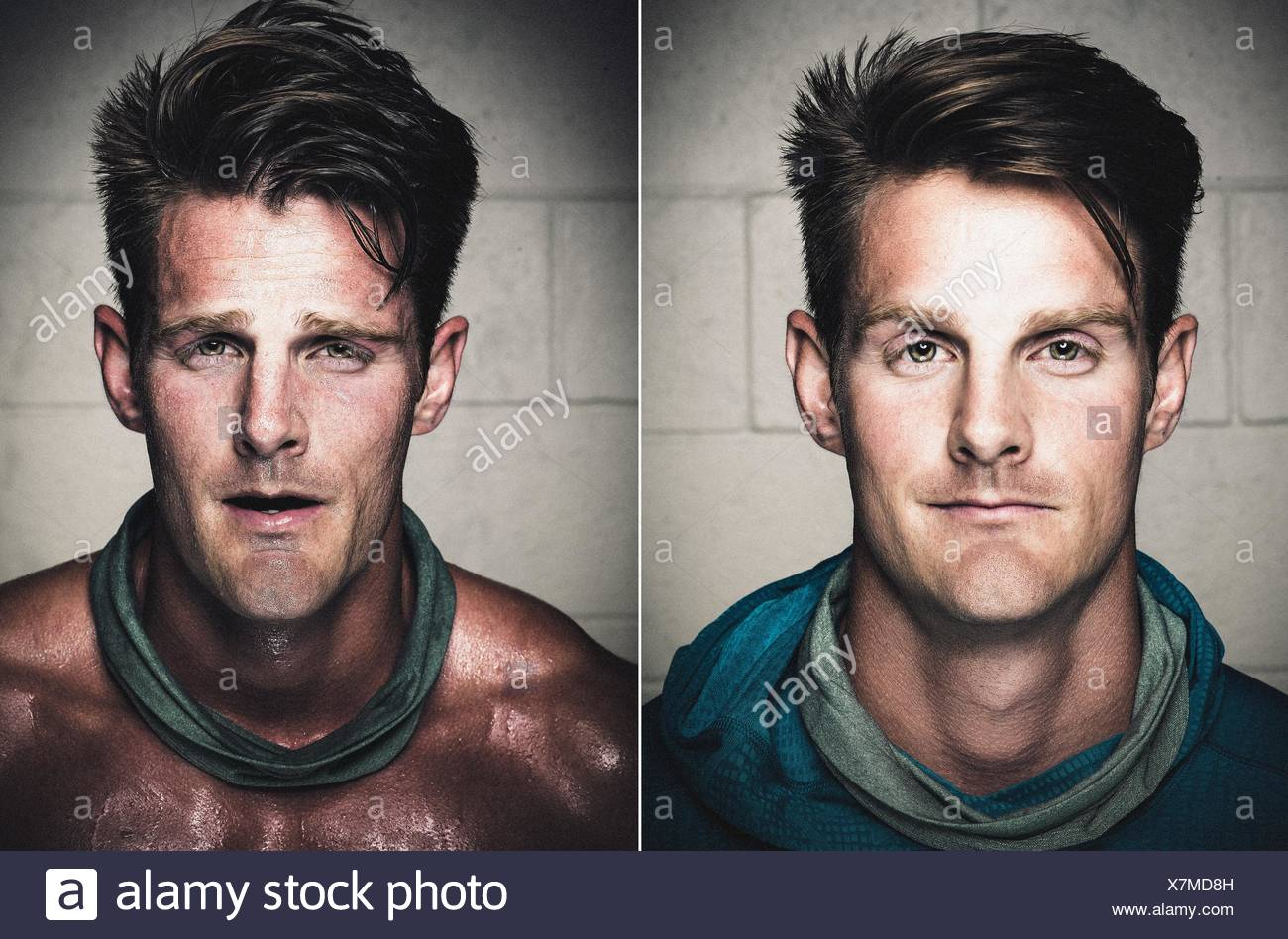 Portraits of mid adult man before and after workout - Stock Image