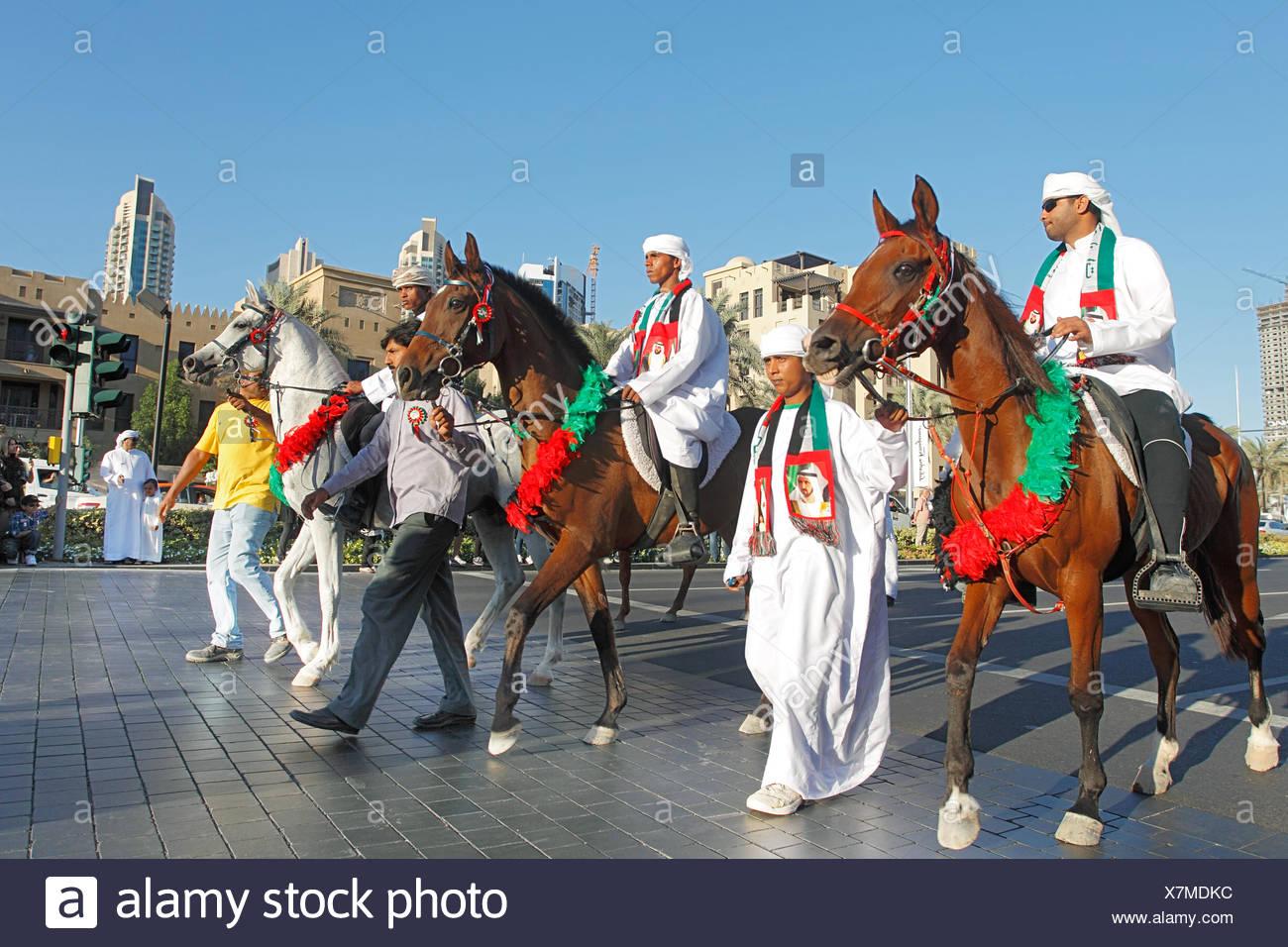 Celebrating National Day on Emaar Boulevard, Downtown, Dubai, UAE. Stock Photo