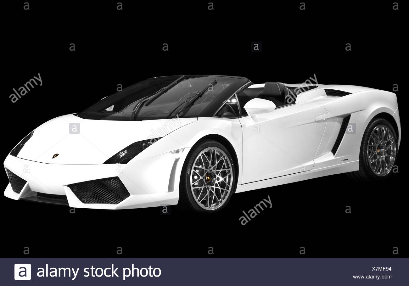 Black Lamborghini convertible sports car - Stock Image