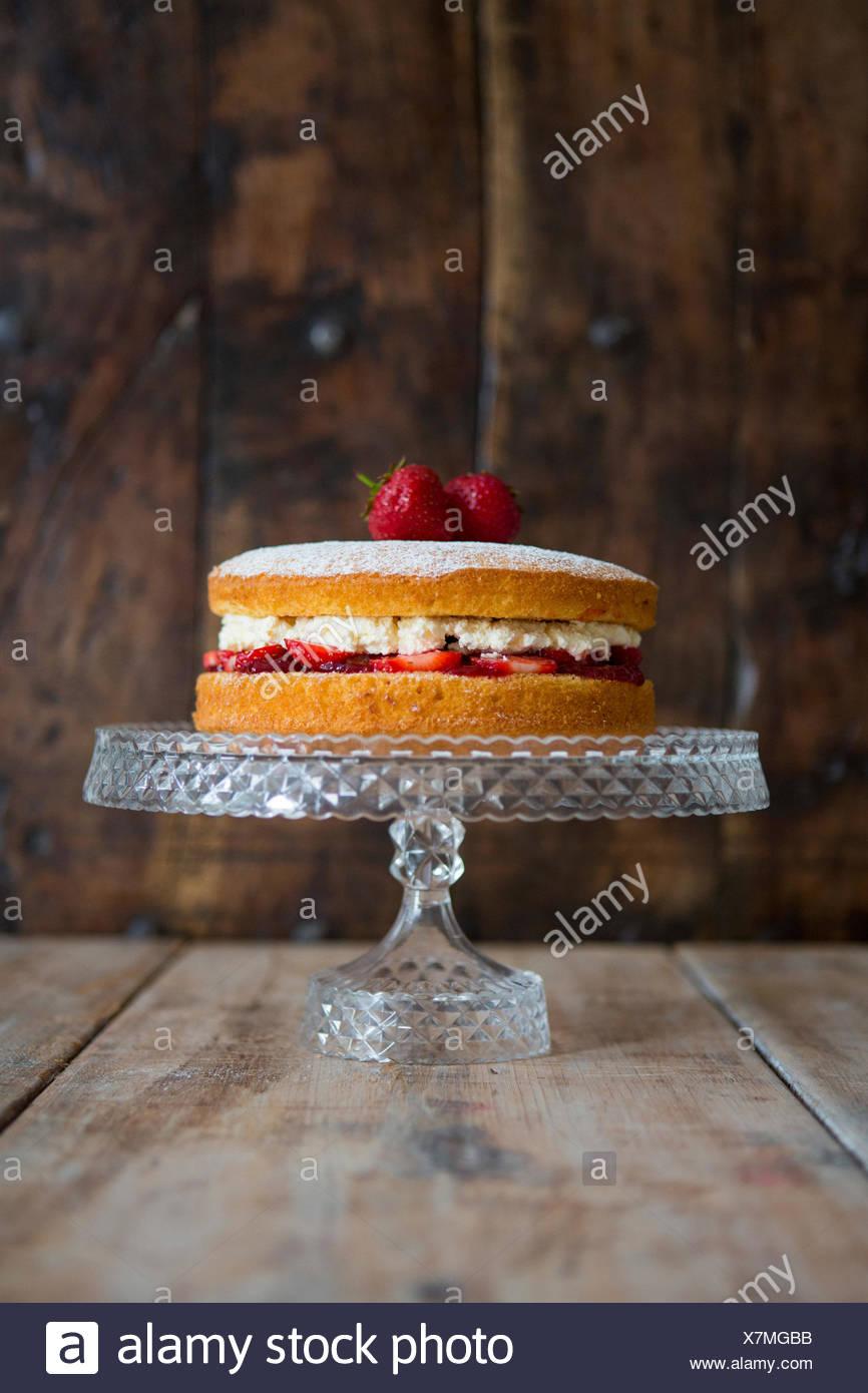 Victoria Sponge Cake on Cake Stand - Stock Image