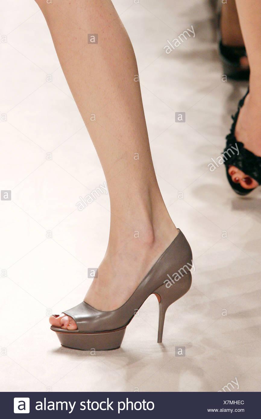 Nina Ricci Paris Ready to Wear Autumn Winter Structured heel platform peep toe shoe - Stock Image