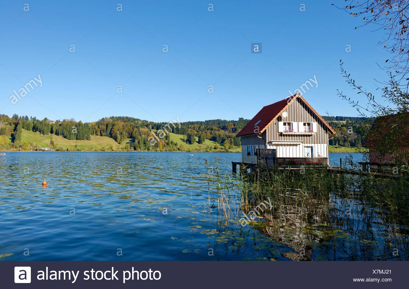 BootshŠuser, Gro§er Alpsee in BŸhl, Gemeinde Immenstadt, OberallgŠu, AllgŠu, Schwaben, Bayern, Deutschland, Stock Photo