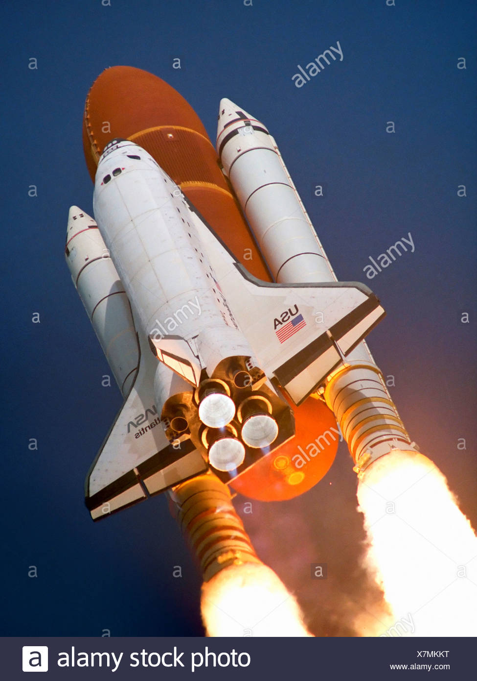 Space Shuttle Atlantis Launching on STS-45 Stock Photo