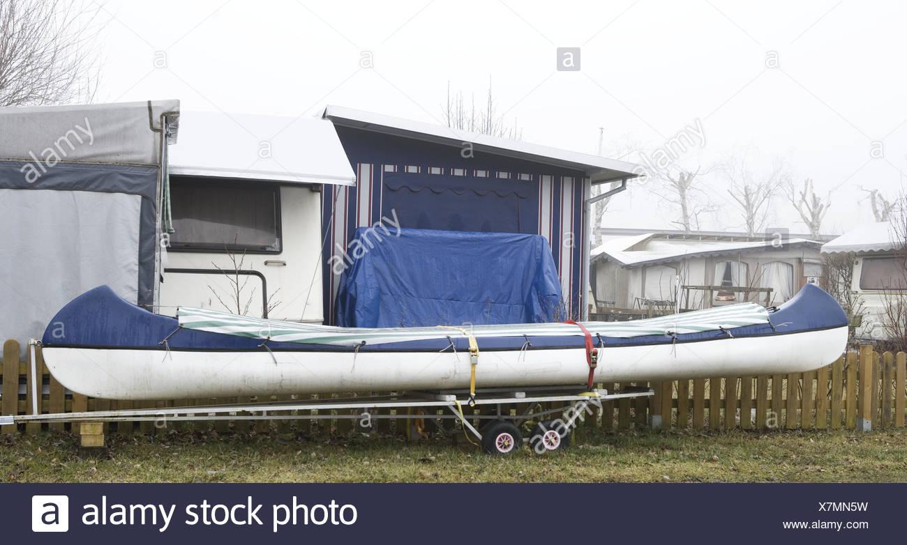 Camping Site Caravan Tents Trailers Canoe Parking Lot