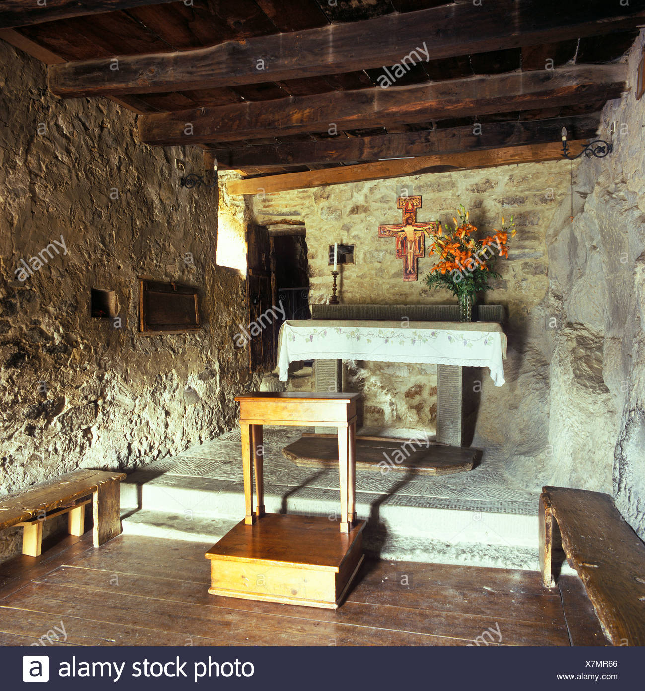 Cell of St Francis, his last resting place before his death, at the Convento delle Celle, a monastery of the order of Friars - Stock Image