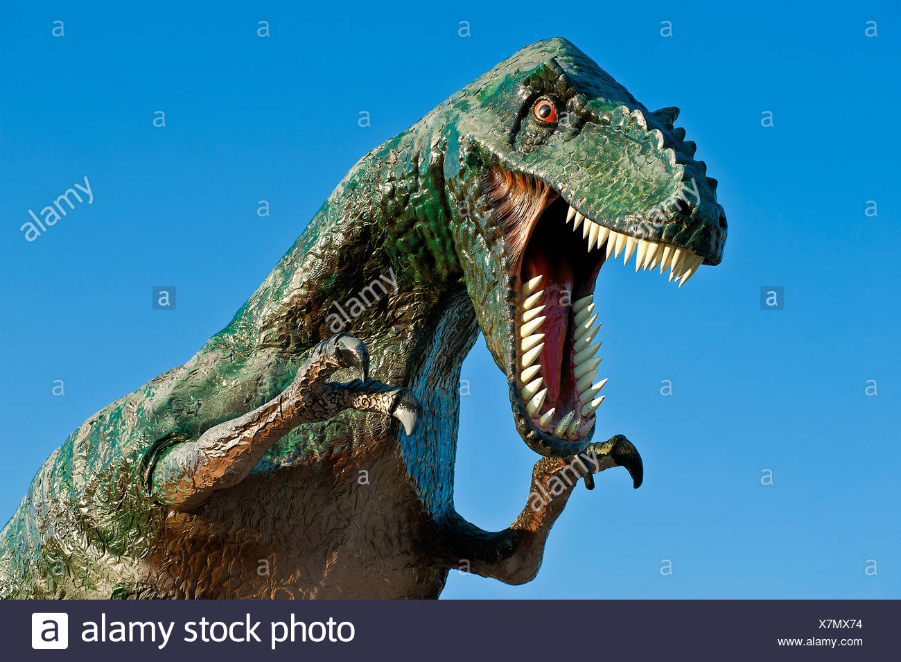 Replica of a dinosaur. - Stock Image