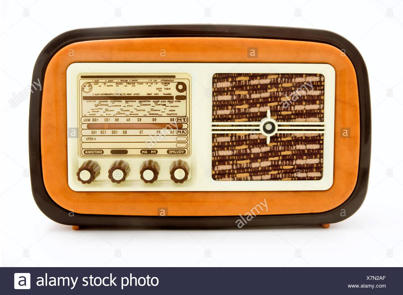 vintage radio old addressee receiver close macro close-up macro admission close - Stock Image