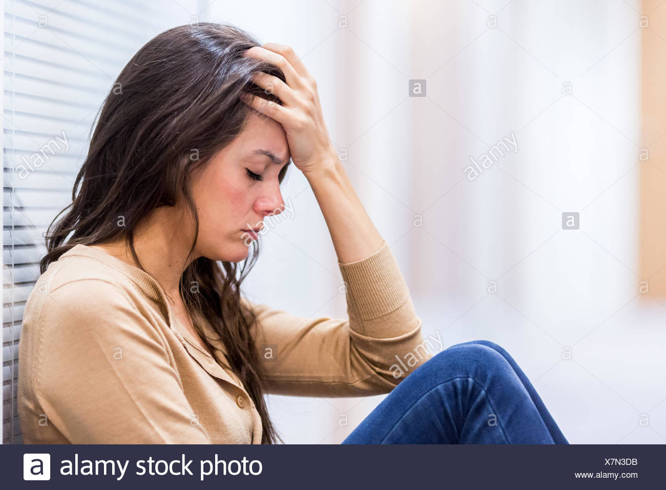 Tired woman. - Stock Image