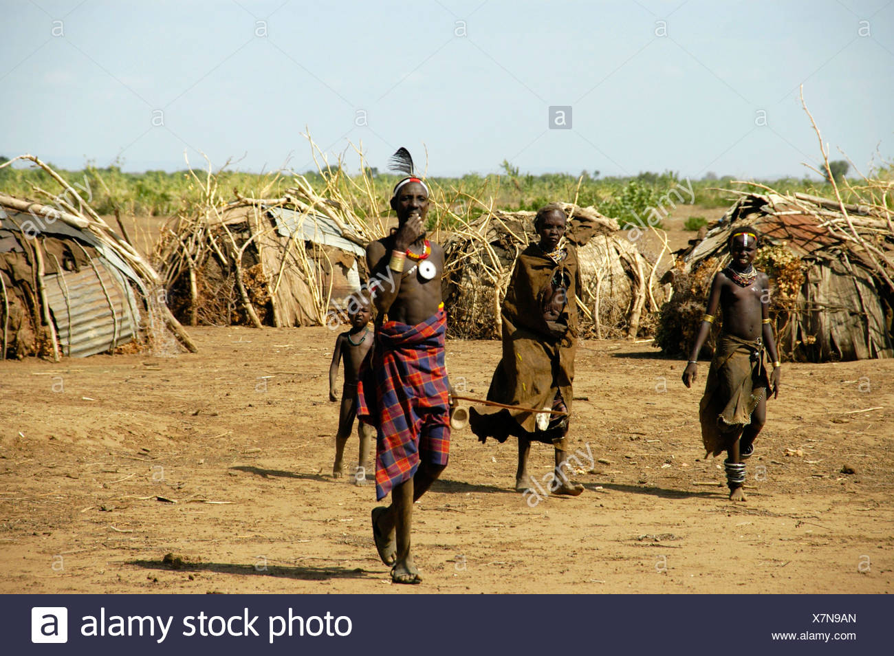 Chieftain with delegation, Omo River, Dashenesh people, Ethiopia, Africa Stock Photo