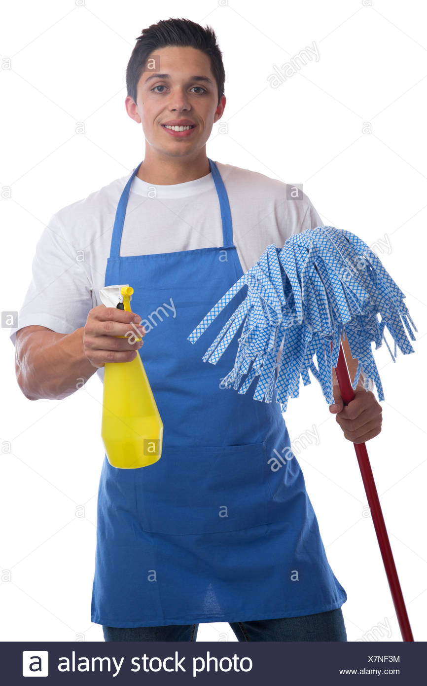 cleaning clean cleaner professional man cut - Stock Image