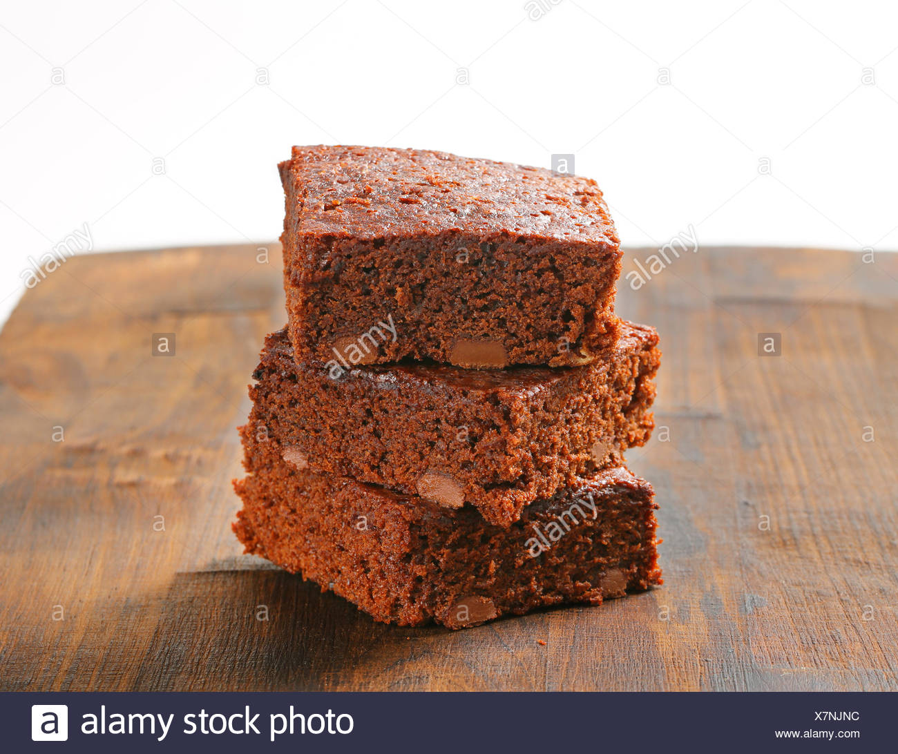 Pile of Fudgy Chocolate Chip Brownies Stock Photo