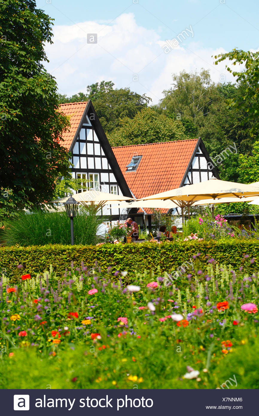Country inn, half-timbered houses at Heiligenberg, Lower Saxony, Germany, Europe - Stock Image