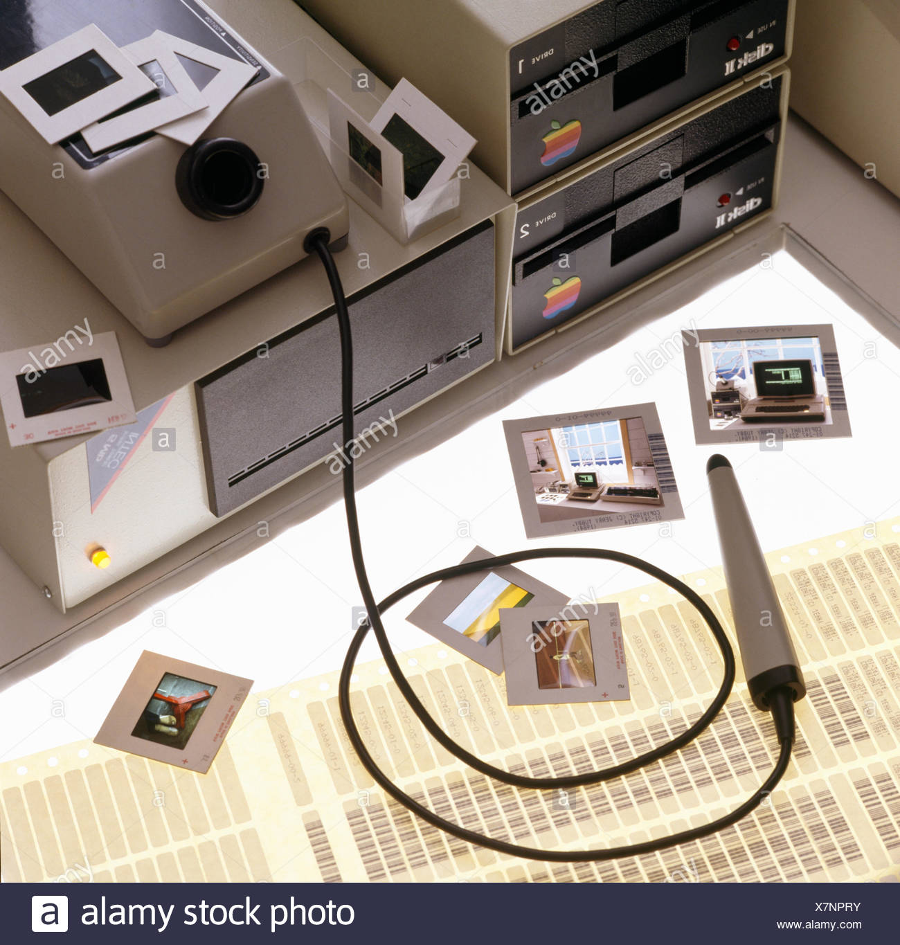 Close-up of a vintage transparency scanner - Stock Image