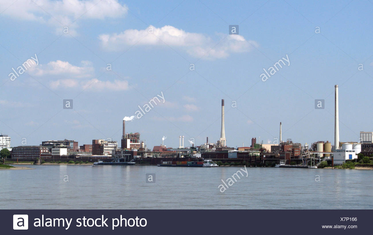 industry rhine chemistry inland port harbor harbours promenade industrial area - Stock Image