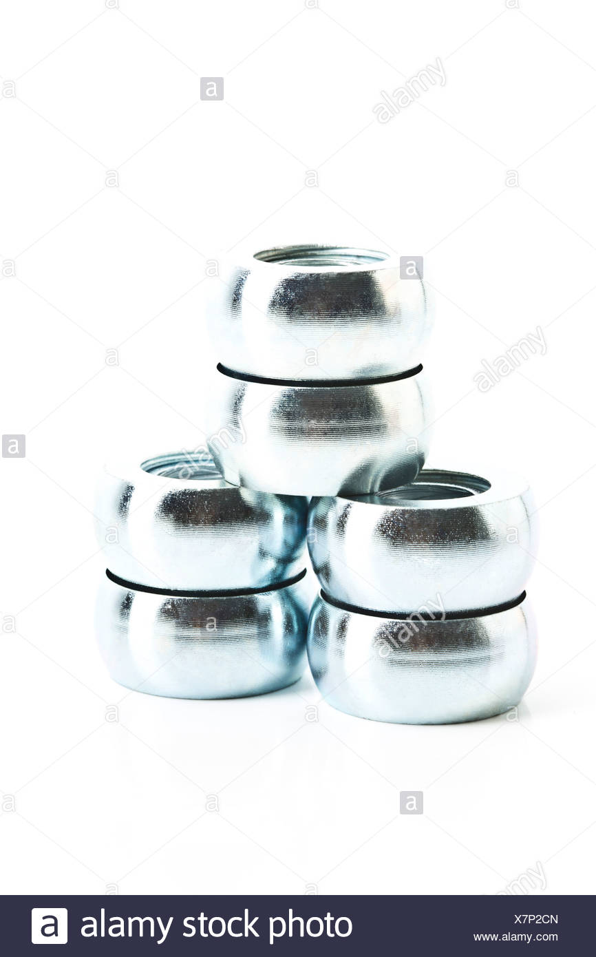 Close up of spacers on white background - Stock Image